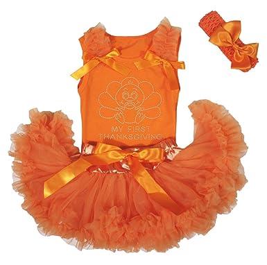 Petitebelle mi Primer día de Acción de Gracias Turquía Naranja ...