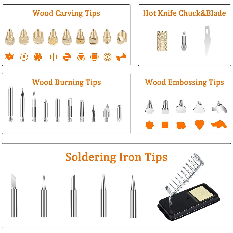 Woodburning Tool with Soldering Iron Kalawen 106Pcs Wood Burning Kit Professional Pyrography Set with LCD Display Adjustable Temperature Soldering Pyrography Pen for Embossing Carving Soldering Tips