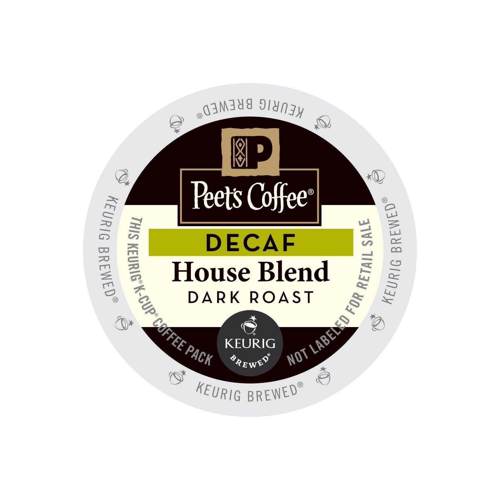 Peet's Coffee & Tea Decaf House Blend K-Cup Portion Pack for Keurig K-Cup Brewers, 22 Count