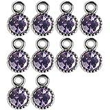 Pendentif en Alliage Forme de Diamant pour Fabrication de Bijoux Lot de 10pcs Violet