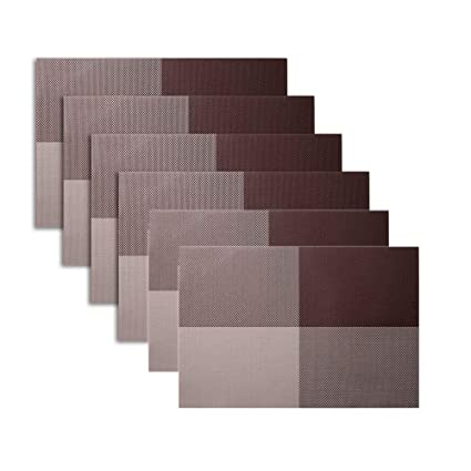 BeGrit Square Placemats Table Mats For Dining Tables Washable Non Slip Heat  Resistant Woven Vinyl