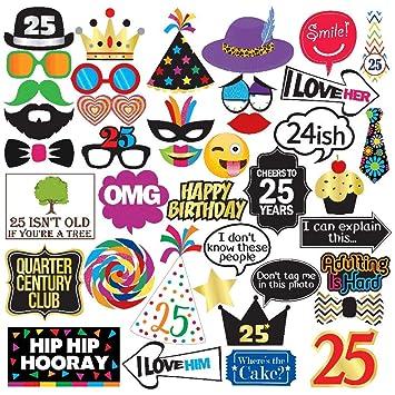 Sterling James Co. Adornos para Las Fotos de la Fiesta de los 25ª Fiesta de Fotos del cumpleaños 40 Piezas - Suministros Divertidos para la Fiesta de ...