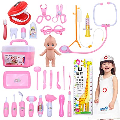 STEAM Life Toy Doctor Kit for Kids and Toddlers Pretend Play for Girls Medical Dr Toys for Girl Age 3 4 5 6 7 Year Old - 31 pcs Pink: Toys & Games