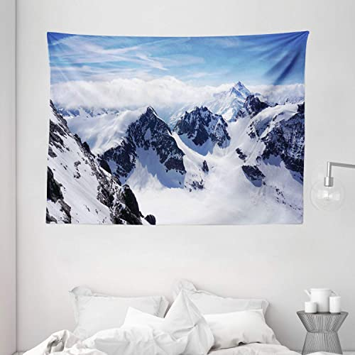 Ambesonne Winter Tapestry, Snowy Mountain Peaks Tops High Lands Northern Scenic Alps Panorama Valley Print, Wide Wall Hanging for Bedroom Living Room Dorm, 80 X 60 , White Blue