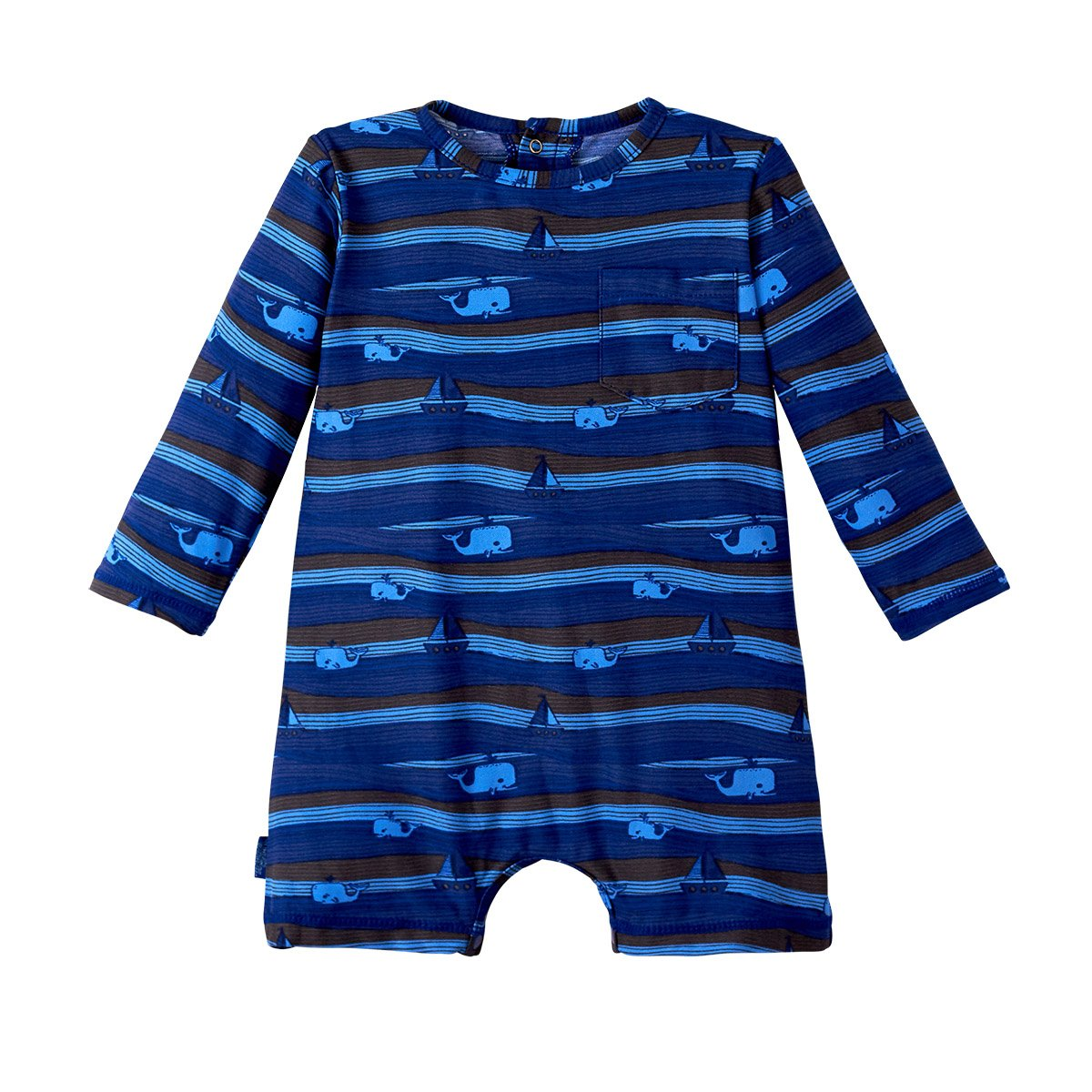 UV SKINZ UPF 50+ Baby Boys UV Sunzie Navy Blue Rough Seas