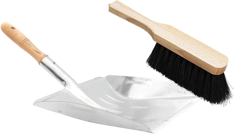 Lantelme 3309 2 tlg Set cepillo con fibras naturales y el metal con recogedor de acero galvanizado: Amazon.es: Hogar