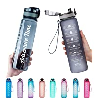 Adventure Time Water Bottle 1L/Large with Time Marker,Motivational Text- BPA Free & Leakproof Frosted Tritan Portable…