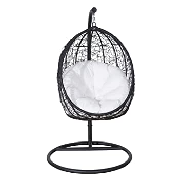 Outsunny Garden Rattan Swing Chair Outdoor Patio Weave Furniture W/ Cushion  Wicker