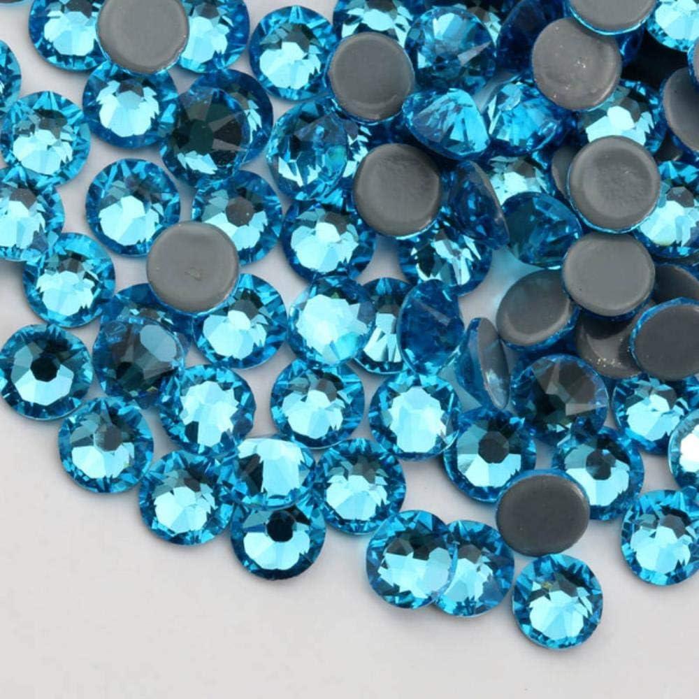 PENVEAT SS16 Nuevas facetas de Corte facetado 8 Big 8 Small Hot Fix Back Hierro Piedra Estilo de Prenda Rhinestone, 1440pcs / Lot, Aguamarina, SS20-1440pcs