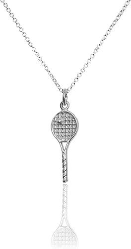 Tennis Racquet Pendant .925 Sterling Silver Charm