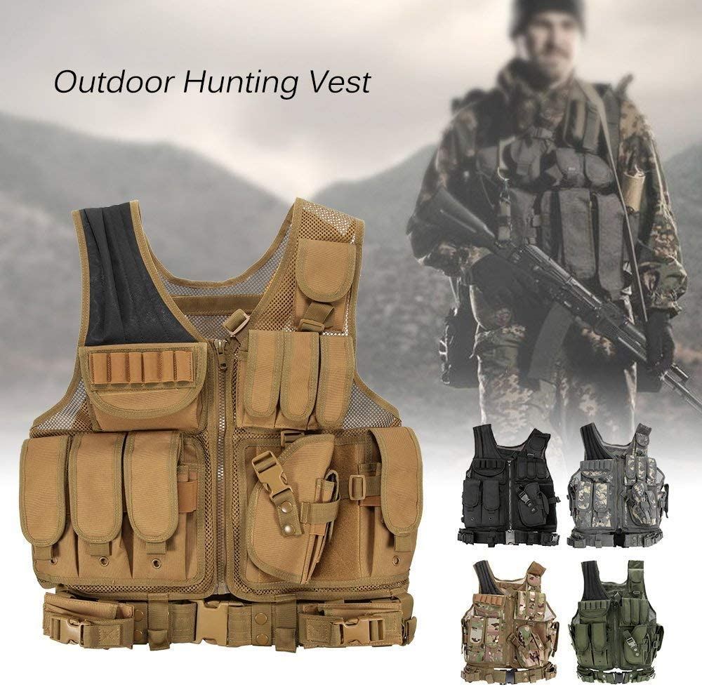 Lejie Maglia per Tattico Militare Esercito Poliestere Airsoft Gilet da Caccia per all/'Aperto Campeggio Escursionismo Tactical Vest