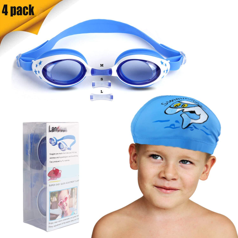 0c6195e7b050 Landisun Kids Swim Goggles Swim Cap Suits with Nose Clip, Ear Plugs,  Swimming Goggles Professional for Children.