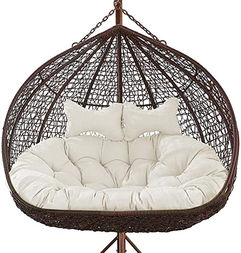 Fordecore 2 Person Hanging Egg Chair Cushion, Swing Chair Cushion with Pillow Thicken Egg Seat Cushion Indoor Outdoor Patio Hanging Egg Hammock Seat Cushion Hanging Basket Chair Cushions White