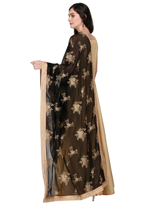 Dupatta Bazaar Woman's Black Georgette Dupatta with Gold Embroidery.