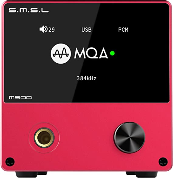 S.M.S.L M500 DAC Headphone Amp Supports MQA decoding ES9038PRO D/A chip USB Uses XMOS XU-216 with Remote Control (red)