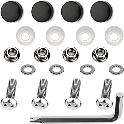 LFParts Stainless Steel Rust Resistant License Plate Frame Security Anti-Theft Machine Type Screws Fasteners (M6x20mm, Black Caps): Industrial & Scientific
