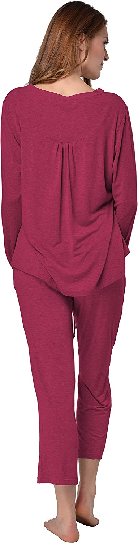Pigiama RAIKOU Moda Italiana Donna Pigiama a Maniche Lunghe Camicia da Notte Sleepwear per Tutte Le Stagioni