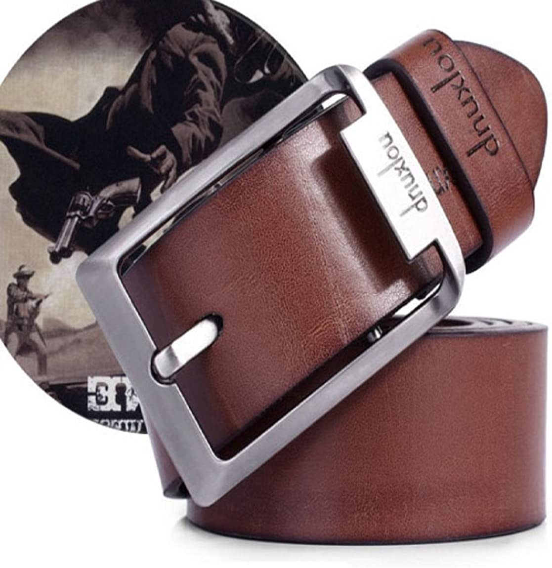 DKmagic New Mens Leather Single Prong Belt Business Casual Dress Metal Buckle