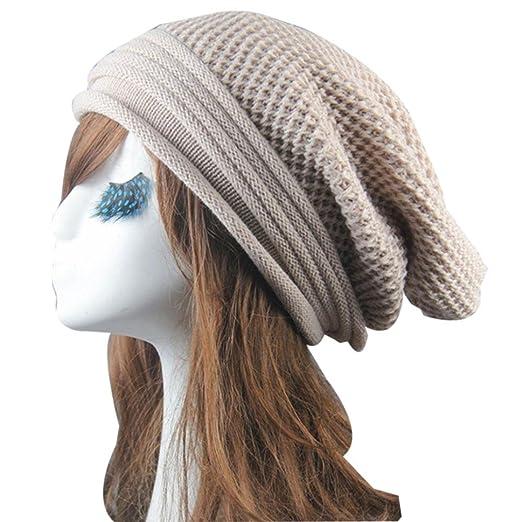 Vcenty Women s Men s Warm Ski Knit Cap Saggy Beanie Hat for Winter Oversize  (Beige) at Amazon Men s Clothing store  a5f151f4213d
