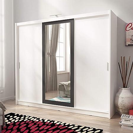 BMF Sarah II 250 cm 3 Puertas correderas Grande Espejo Dormitorio LED Estilo Moderno Armario – Color Blanco y Negro Espejo: Amazon.es: Hogar