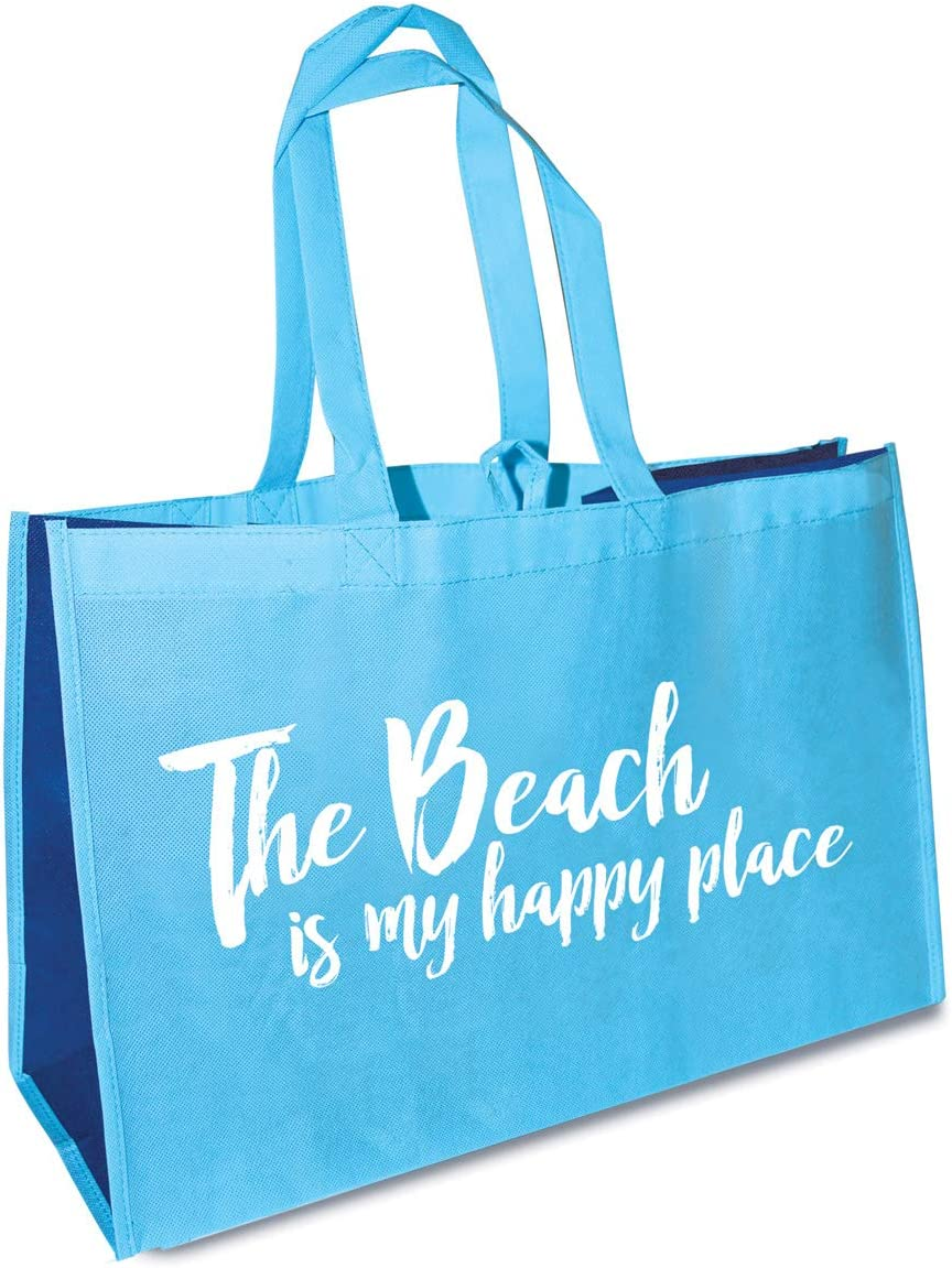 The Beach Is My Happy Place Sea Blue Reusable Eco-Friendly Oversized Tote