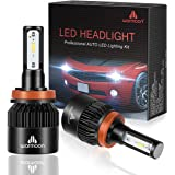 Warmoon H11 Led Headlight Bulb, 8000 Lumens Wide Beam Angle 6500K All-in-One H8 H9 LED Headlight Bulbs Conversion Kit with 2.5 Year Warranty -Pack 2