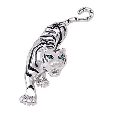 5fb35a6ae04 OBONNIE Antique Gold Tone Austrian Crystal Black Enamel Tiger Wildlife  Animal Brooch Pin for Men Women