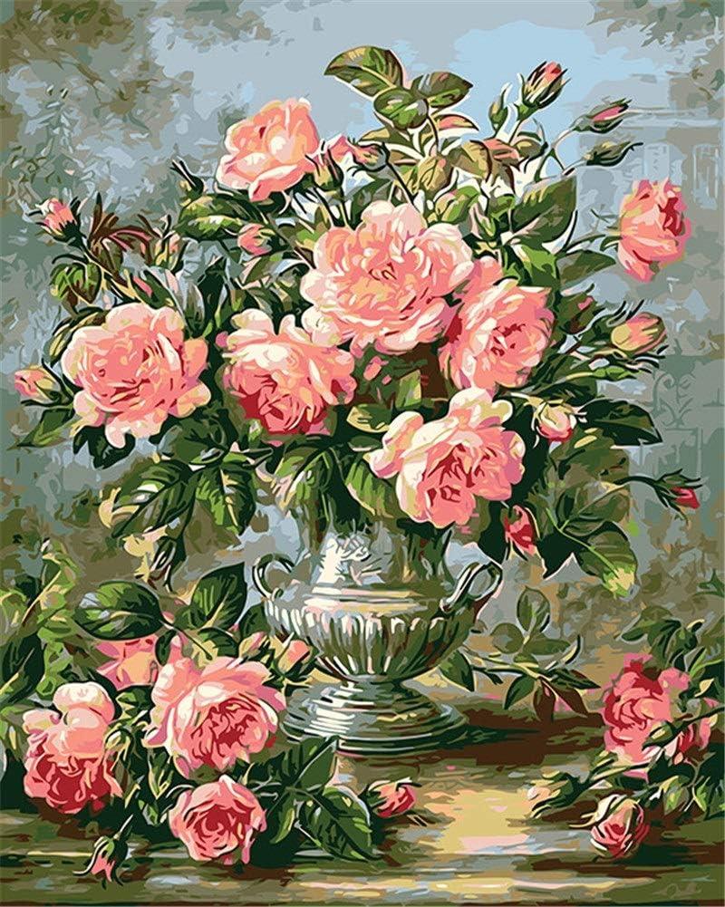 KGDUYH Pintura al óleo por números, DIY Pintado a Mano de Flores Cuadros Lienzo de Pintura de la Sala Arte de la Pared del hogar del Regalo de la decoración - 16 * 20 Pulgadas