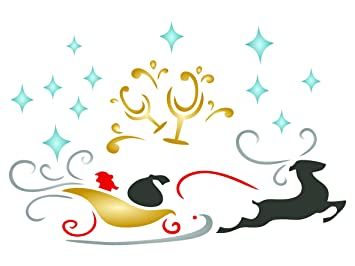 Navidad trineo plantilla – reutilizable tostada cristal Papá Noel reno pared plantillas para pintar – uso