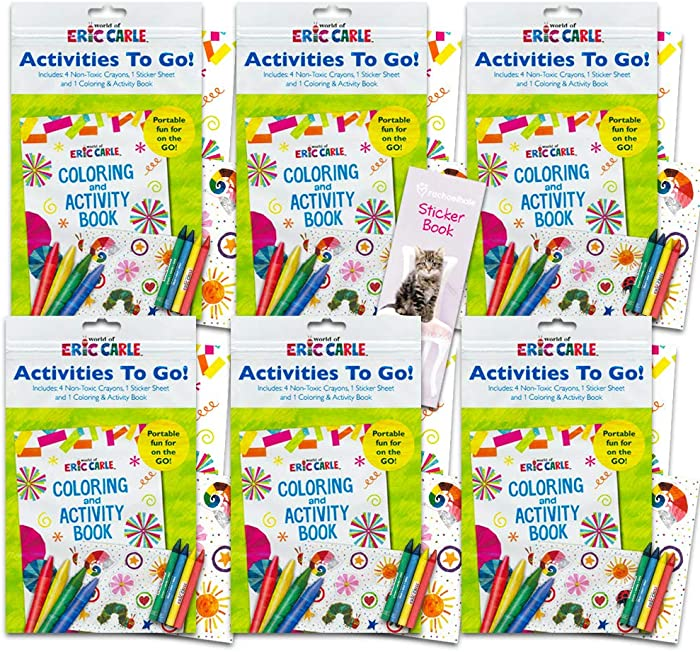 World of Eric Carle Coloring Pack Party Favors ~ Set of 6 Eric Carle Play Packs with Stickers, Crayons and Coloring Activity Book in a Resealable Pouch
