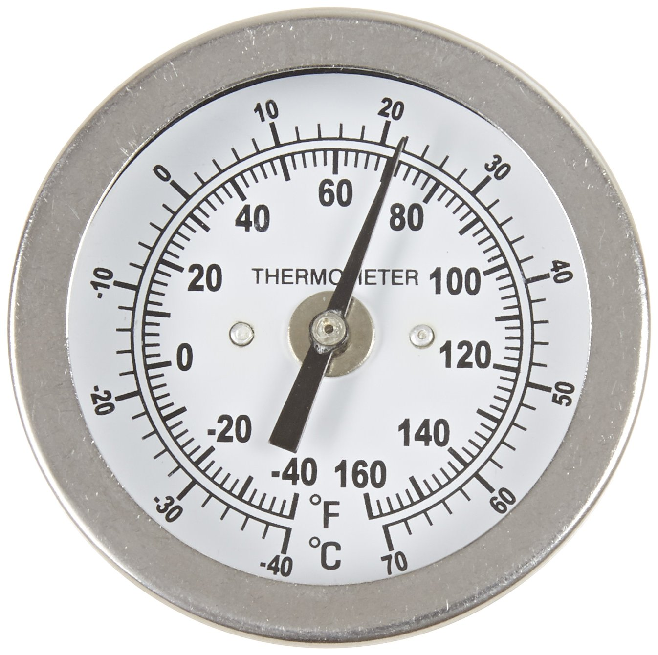 PIC Gauge B2B2-BB Stainless Steel Bimetal Thermometer with Recalibration Screw, 90 Back Angle Type, 2 Dial Size, 2-1/2 Stem Length, -40/160 F and -40/160 C Temperature Range by PIC Gauges B00FBPDLIM