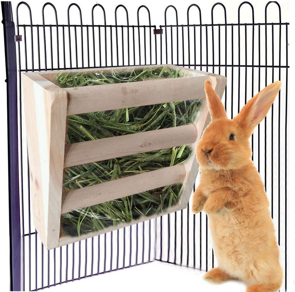 Ploufer Alimentador de heno de Conejo, comedero de Madera Alimentador de heno para Conejos Chinchillas Cerdos de Guinea Totoro Sweet