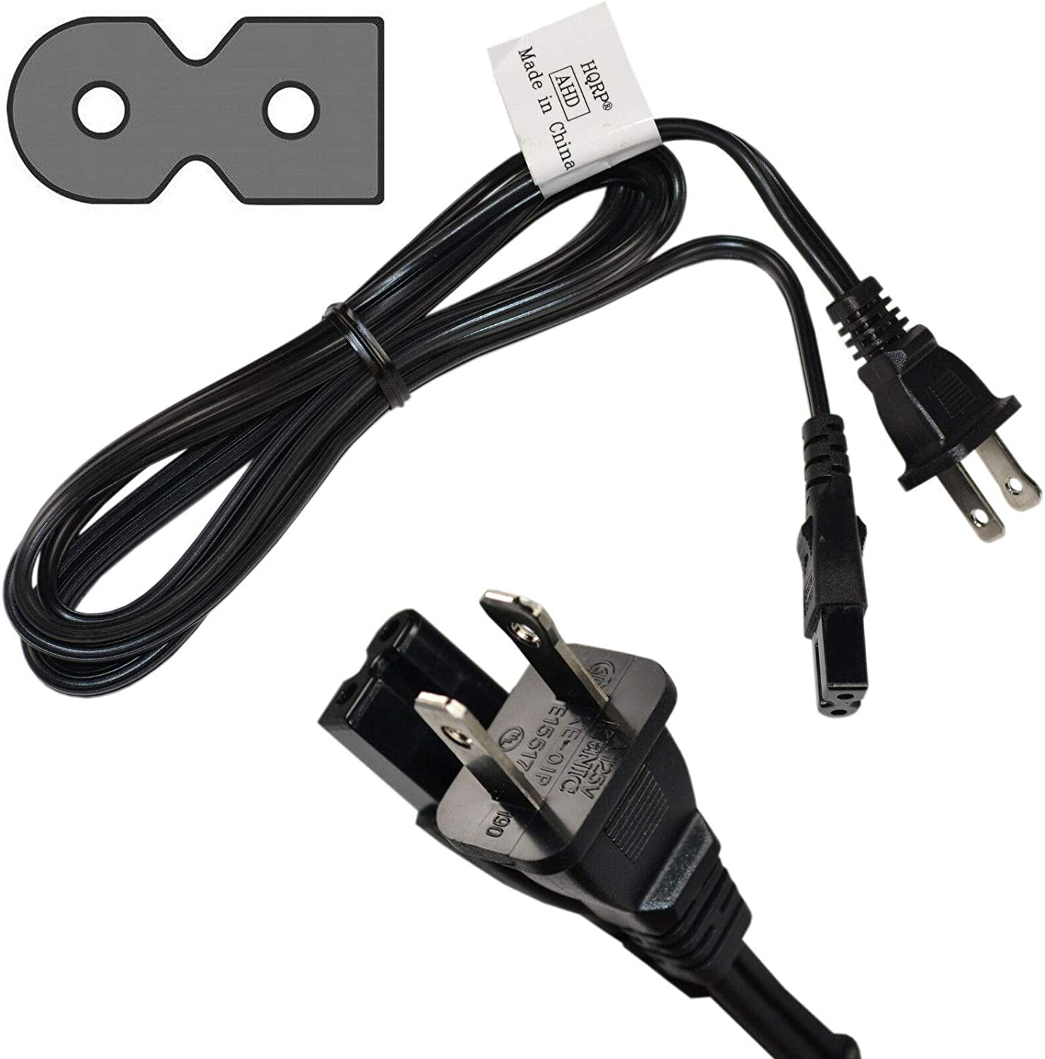 HQRP AC Power Cord fits Panasonic SCHTB20 SCHTB350 SCHTB351 SCHTB65 SCHTB70 Sound Bar Speaker System Mains Cable