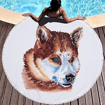 Redondo microfibra toalla de playa Lobo Animales Toallas de playa toalla de playa playa manta Toalla Grande 150 cm 10: Amazon.es: Hogar