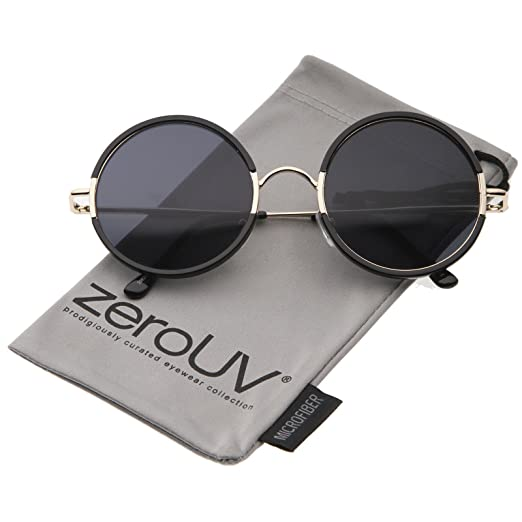 49c09373e Mid Sized Retro Metal Nose Bridge Slim Temple Round Sunglasses 54mm  (Black-Gold/