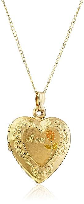 Amazon 14k yellow gold filled mom heart locket with pink rose 14k yellow gold filled quotmomquot heart locket with pink rose pendant necklace audiocablefo