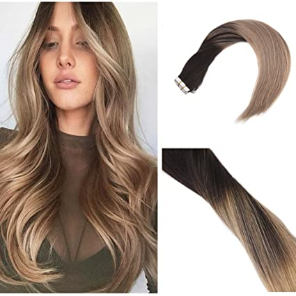 Ugeat Tape Hair Extension Capelli Balayage Marrone Scuro Con Biondo Cenere Scuro Extension 218 20pcs 50gram Veri Diritto Capelli 24 Pollice60cm