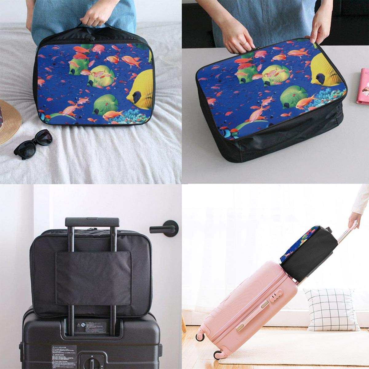 Fish Underwater Sea Travel Fashion Lightweight Large Capacity Duffel Portable Waterproof Foldable Storage Carry Luggage Tote Bag