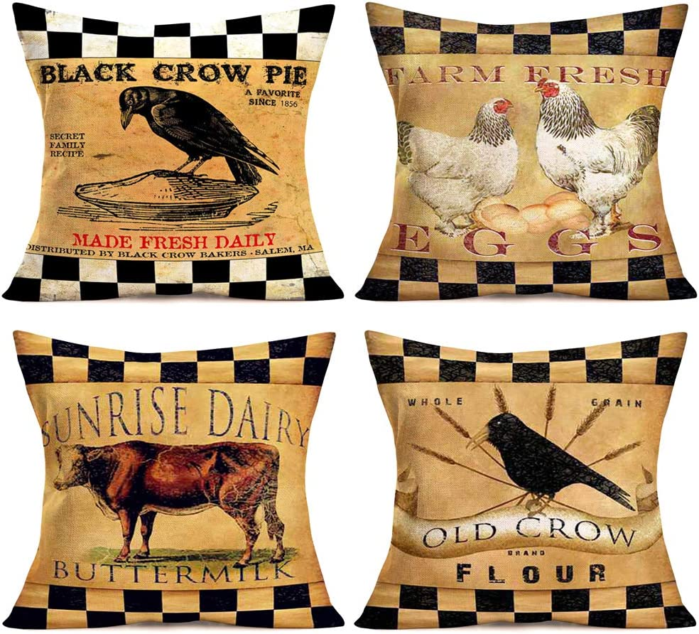 Aremetop Rustic Farmhouse Animal Pillow Covers Black Buffalo Plaid Country Poultry Rooster Cow Crow Farm Fresh Dairy Feed Decorative Cotton Linen Throw Pillow Case Cushion Cover 18''x18'' Set of 4