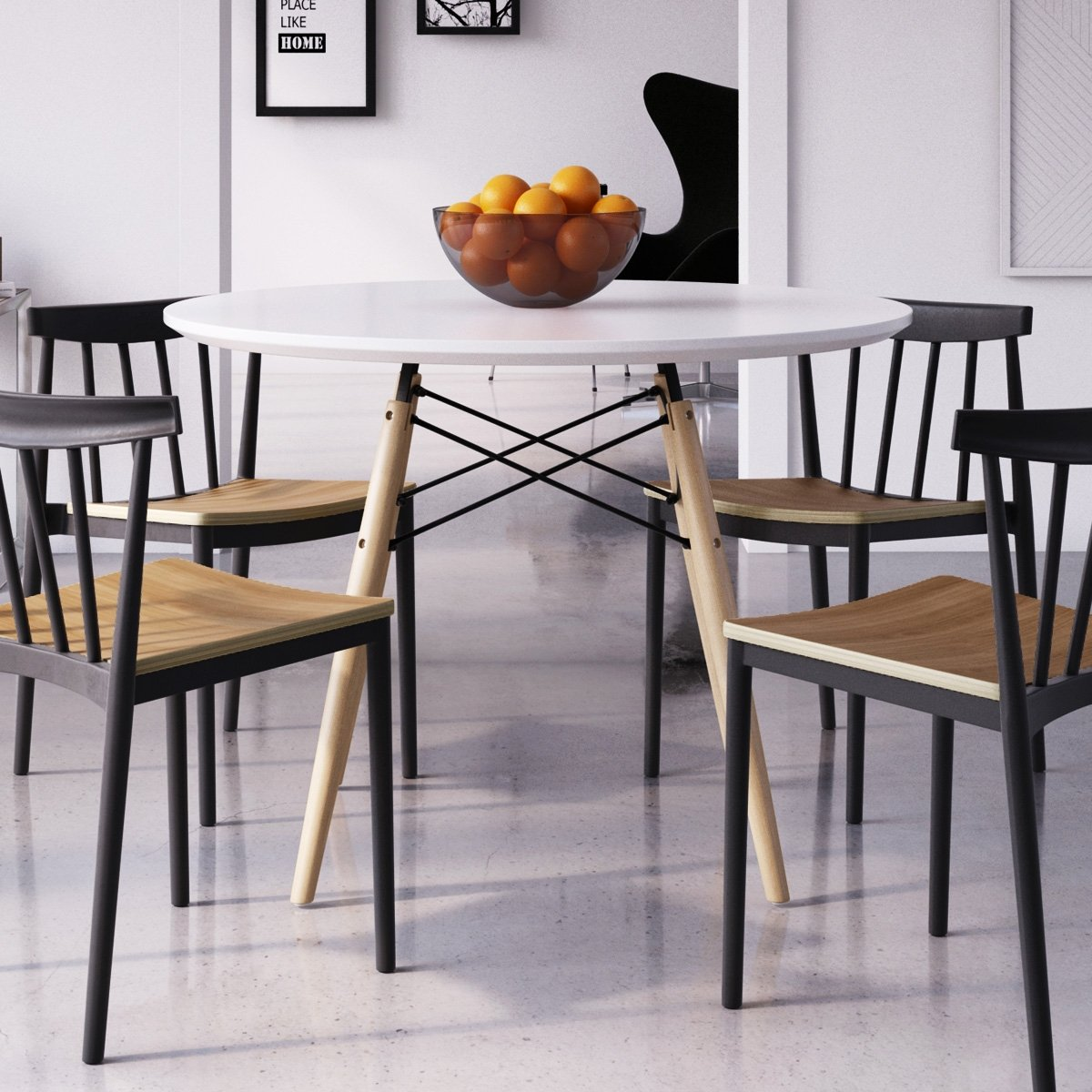 Amazon.com - Eiffel Large Round Dining Table, Natural Legs ...