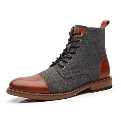 La Milano Mens Winter Dress Boots Cap Toe Lace up Genuine Leather Oxford Comfortable Casual Wool Ankle Jack Boots for Men | Chukka
