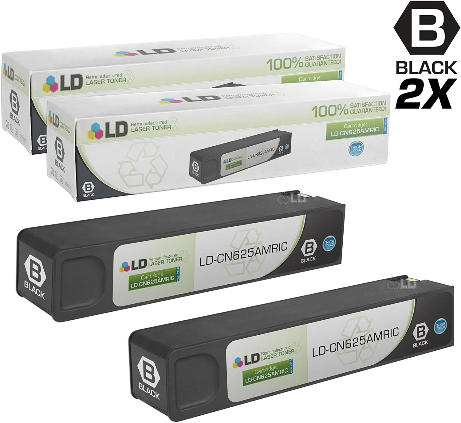 LD Remanufactured Ink Cartridge Replacement for HP 970XL CN625AM High Yield (Black, 2-Pack)