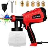 YATTICH Paint Sprayer, High Power HVLP Spray Gun, with 5 Copper Nozzles & 3 Patterns, Easy to Clean, for Furniture, Fence, Ca
