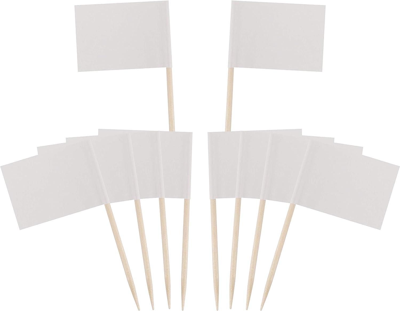 ZARRS Drapeau des Cure-Dents,100 Pi/èces Petites Etiquettes Blanc Cocktail de Pirate Mini Toothpick Flag pour Nourriture Ap/éritif G/âteau de F/ête Cheeseplate