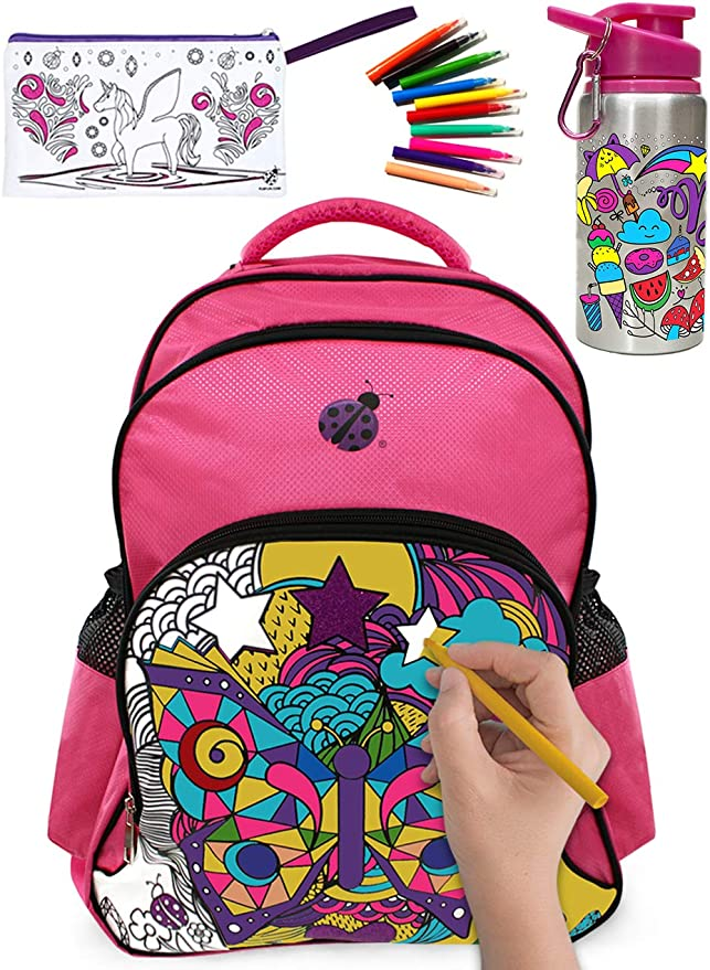 Large Color In Backpack for Girls with 10 Vibrant Coloring Markers, a Color-in Water Bottle and a Color-in Pencil Case - Amazing Value in this Creative Heavy Duty Back to School Backback for Kids Kit!