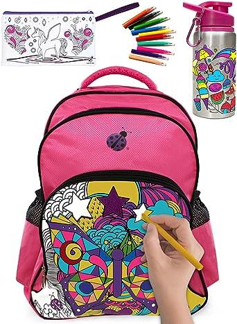Purple Ladybug Novelty Mochila con 10 marcadores de colores vibrantes,una botella de agua de color y un estuche de lápices de color para niños Púrpura: Amazon.es: Ropa y accesorios
