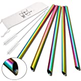 """5 Pcs Reusable Boba Straws & Smoothie Straws - Rainbow Colors & Angled Tips, 0.5"""" Wide Stainless Steel Straws, 10"""" Metal Straws for Bubble Tea, Milkshakes, Jumbo Drinks 