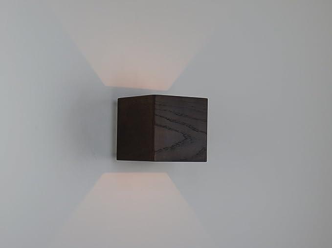 Applique lampada da parete moderna in legno rovere wengè: amazon.it