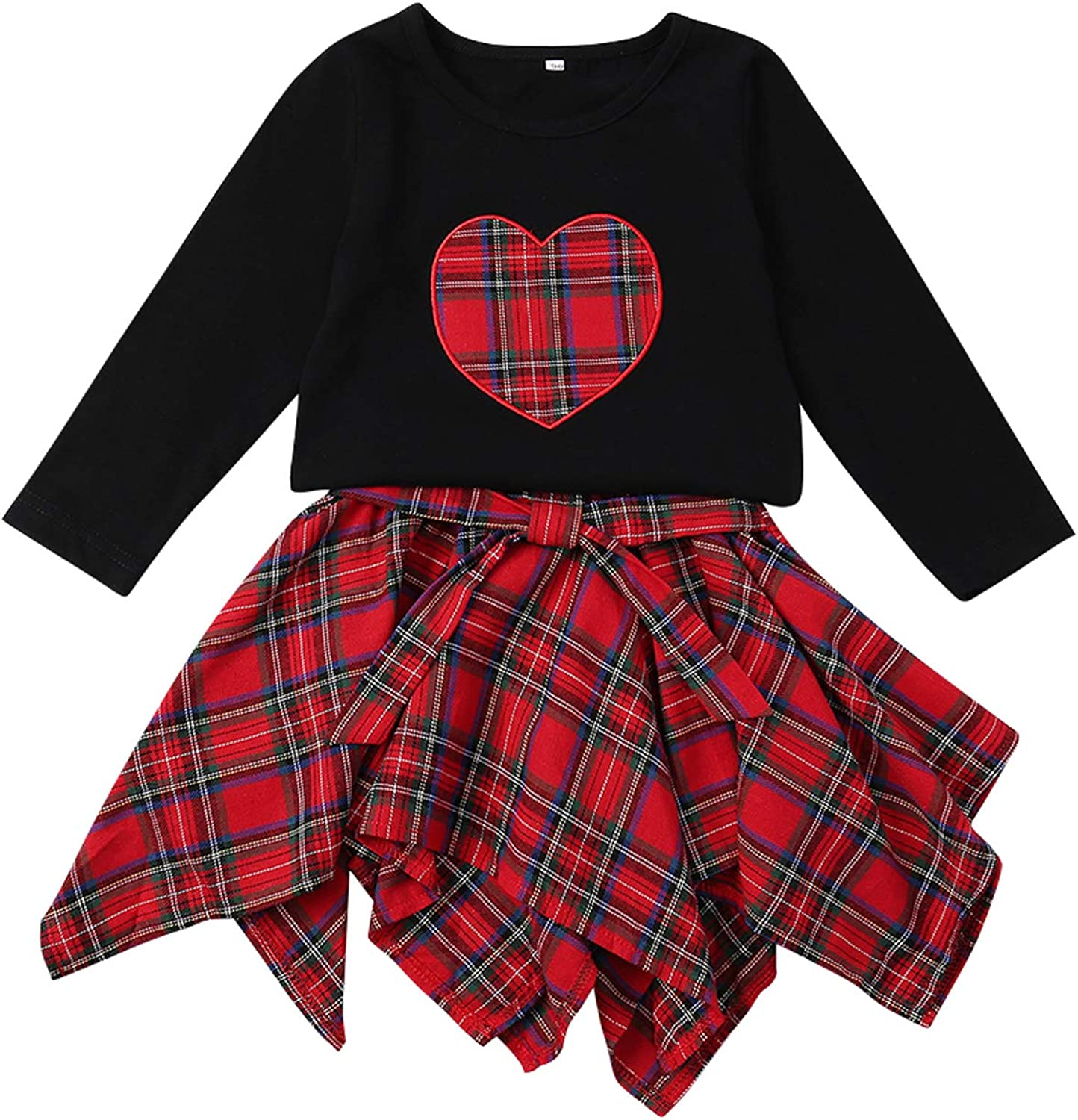 Baby Girls Sleeveless Plaid Top Bow T-Shirt+Denim Skirt Zukuco Toddler Girl Ruffle Skirt Set