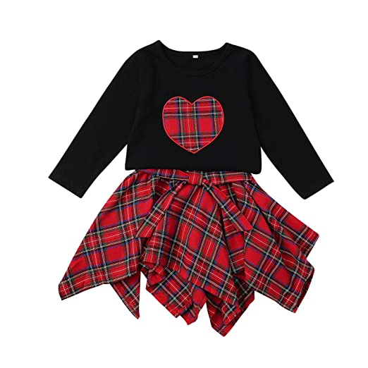 40565b35a Zukuco Baby Girl Christmas Skirt Outfit Heart Print Hoodie Long Sleeve Shirt  + Plaid Skirt Clothes